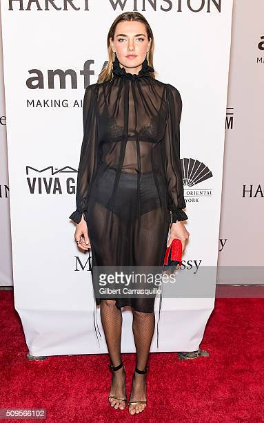 Model Alina Baikova attends the 2016 amfAR New York Gala at Cipriani Wall Street on February 10 2016 in New York City