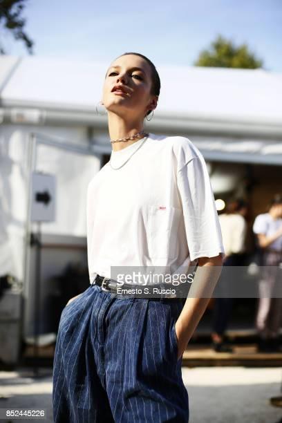 Model Alina Honcharuk is wearing Luisa Via Roma TShirt during the Cavalli Fashion Show at Milan Fashion Week Spring/Summer 2018 at Parco Sempione on...