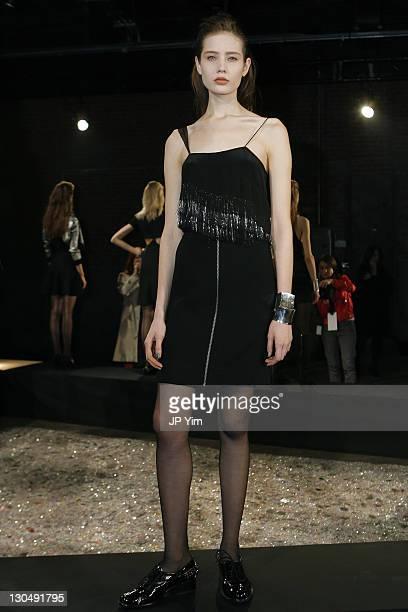 Model Alina Ismailova wears Vena Cava at the Vena Cava presentation during MercedesBenz Fashion Week Fall 2009 at Eyebeam on February 14 2009 in New...