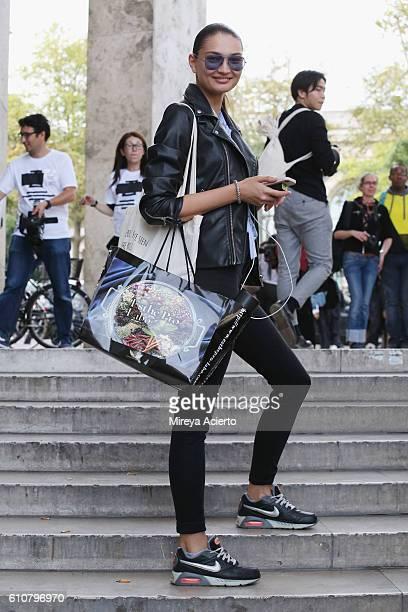 Model Alina Tatsiy seen during Paris Fashion Week Spring/Summer 2017 on September 27 2016 in Paris France