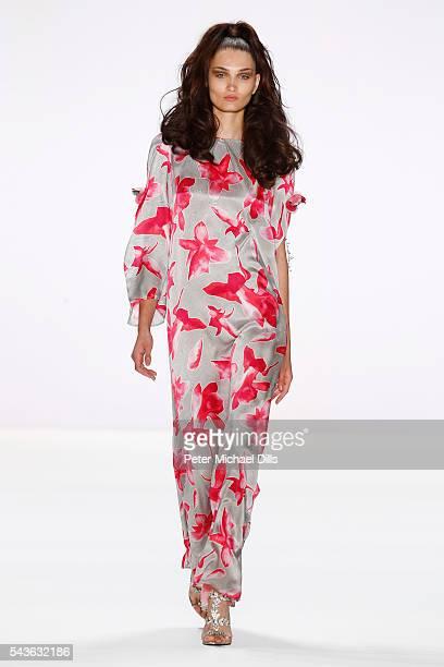Model Alina Tatsiy walks the runway at the Guido Maria Kretschmer show during the MercedesBenz Fashion Week Berlin Spring/Summer 2017 at Erika Hess...