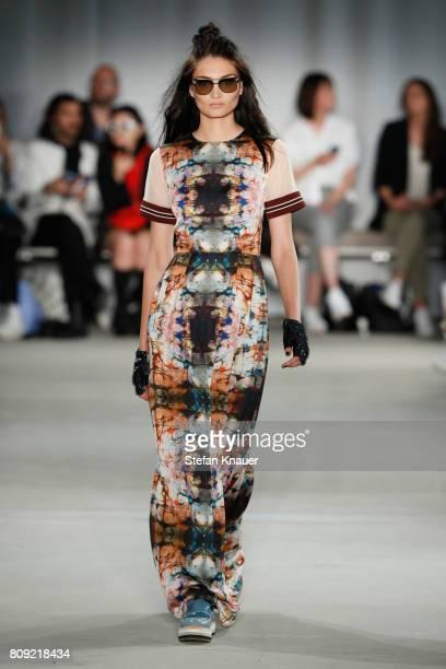 Model Alina Tatsiy walks the runway at the Rebekka Ruetz show during the MercedesBenz Fashion Week Berlin Spring/Summer 2018 at Kaufhaus Jandorf on...