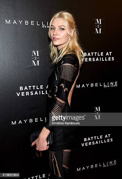 Model Aline Weber attends 'Battle at Versailles' New York Premiere at Paris Theater on March 3 2016 in New York City