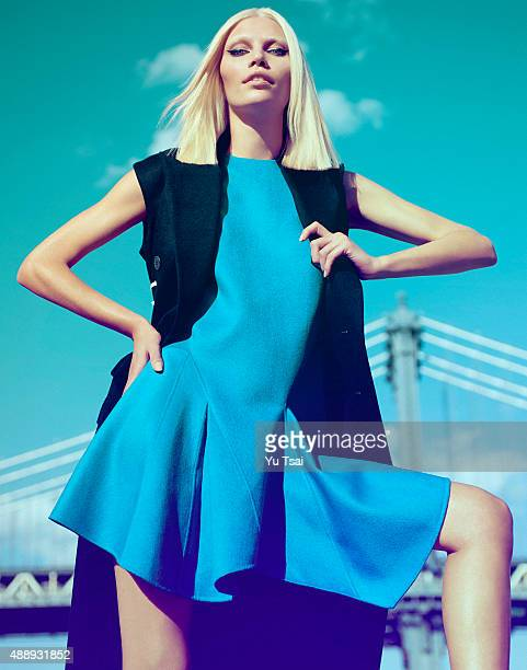Model Aline Weber is photographed for a fashion editorial for Harpers Bazaar Singapore on May 5 2014 in New York City Published Image