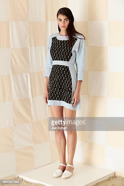 Model Alisar Ailabouni dressed in Litke during the Litke Spring 2015 Presentation on September 3 2014 in New York City