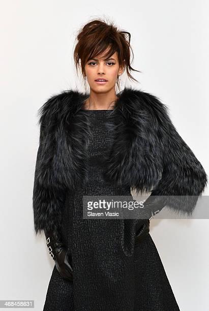 Model Alisar Ailabouni poses at the Barbara TFank presentation during MercedesBenz Fashion Week Fall 2014 at Leila Heller Gallery on February 10 2014...
