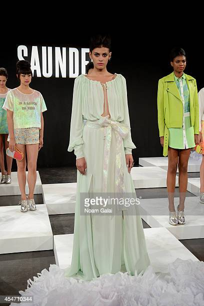 Model Alisar Ailabouni poses at the Saunder fashion show during MercedesBenz Fashion Week Spring 2015 at The Hub at The Hudson Hotel on September 5...