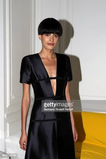 Model Alisar Ailabouni presents Dress of Olivier Lapidus Creation during the Launch of Olivier Lapidus eCouture on July 1 2017 in Paris France