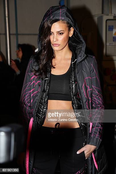 Model Alisar Ailabouni seen backstage ahead of the Plein Sport show during Milan Men's Fashion Week Fall/Winter 2017/18 on January 14 2017 in Milan...