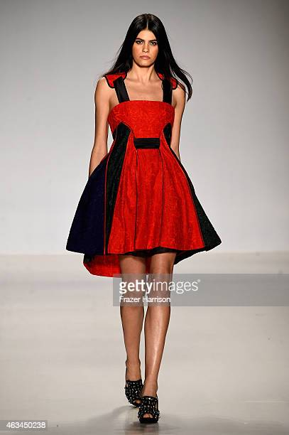 Model Alisar Ailabouni walks the runway at the Asia Fashion Collection fashion show during MercedesBenz Fashion Week Fall 2015 at The Salon at...
