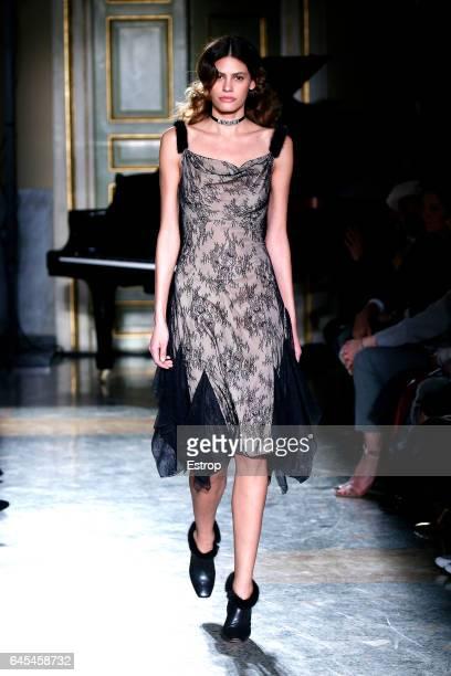 Model Alisar Ailabouni walks the runway at the Blumarine designed by Anna Molinari show during Milan Fashion Week Fall/Winter 2017/18 on February 25...
