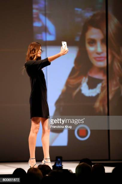 Model Alisar Ailabouni walks the runway at the Gerry Weber Open Fashion Night 2017 during the Gerry Weber Open 2017 at Gerry Weber Stadium on June 24...
