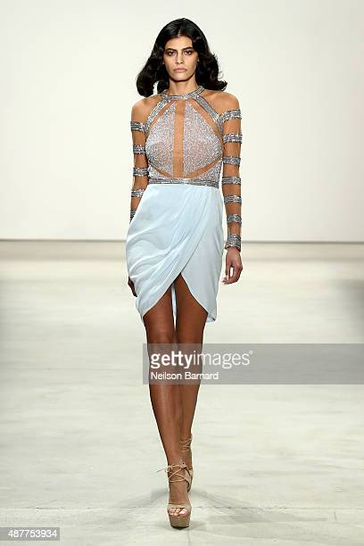 Model Alisar Ailabouni walks the runway at the Idan Cohen fashion show during Spring 2016 New York Fashion Week The Shows at The Gallery Skylight at...