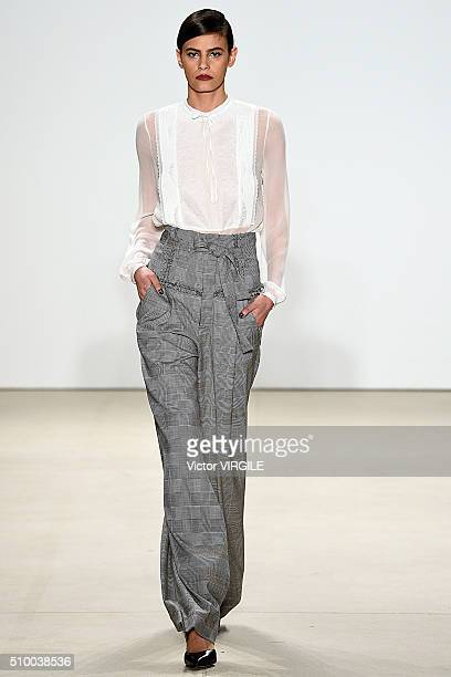 Model Alisar Ailabouni walks the runway at the Marissa Webb Fall/Winter 2016 during the New York Fashion Week on February 11, 2016 in New York City.