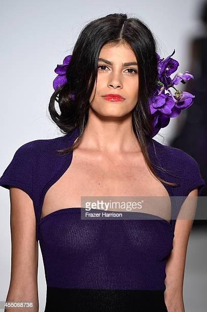 Model Alisar Ailabouni walks the runway at the Zang Toi fashion show during MercedesBenz Fashion Week Spring 2015 at The Salon at Lincoln Center on...