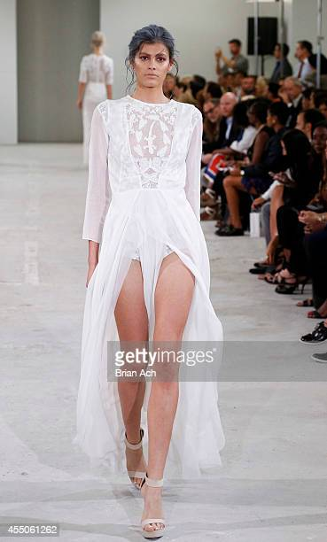 Model Alisar Ailabouni walks the runway during the Azede JeanPierre runway show during MercedesBenz Fashion Week Spring 2015Hippodrome Building on...
