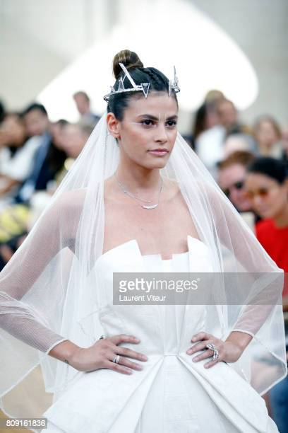 Model Alisar Ailabouni walks the runway during the Gyunel Haute Couture Fall/Winter 20172018 show as part of Haute Couture Paris Fashion Week on July...