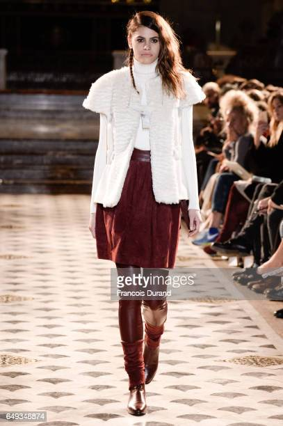 Model Alisar Ailabouni walks the runway during the Nobi Talai show as part of the Paris Fashion Week Womenswear Fall/Winter 2017/2018 on March 7 2017...