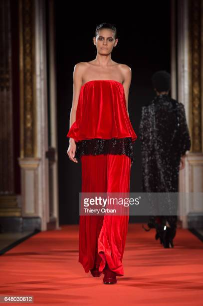 Model Alisar Ailabouni walks the runway during the Talbot Runhof show as part of the Paris Fashion Week Womenswear Fall/Winter 2017/2018 on March 4...