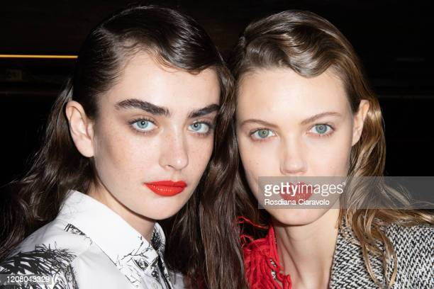 Model Alisha Nesvat and Lindsey Wixson are seen backstage at the MSGM fashion show on February 22 2020 in Milan Italy