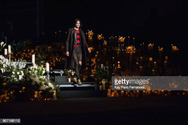 A model alks the runway during the Amiri Presentation Menswear Fall/Winter 20182019 show as part of Paris Fashion Week on January 19 2018 in Paris...