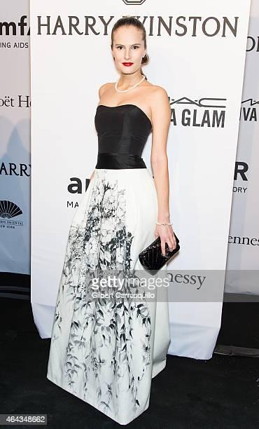 Model Alla Kostromichova attends the 2015 amfAR New York Gala at Cipriani Wall Street on February 11, 2015 in New York City.