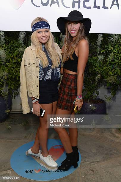Model Alli Simpson and guest attend the Official HM Loves Coachella Party at the Parker Palm Springs on April 10 2015 in Palm Springs California