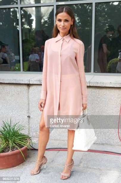 Model Almudena Fernandez attends Angel Schlesser show at Mercedes Benz Fashion Week Madrid Spring/ Summer 2019 on July 6 2018 in Madrid Spain on July...