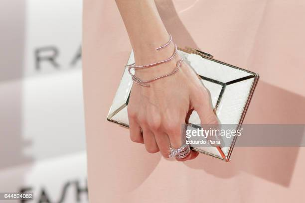 Model Almudena Fernandez handbag detail attends the 'Fashion arts' photocall at Reina Sofia museum on February 23 2017 in Madrid Spain