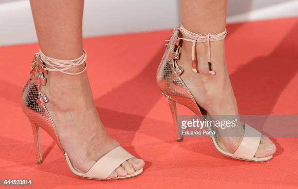 Model Almudena Fernandez shoes detail attends the 'Fashion arts' photocall at Reina Sofia museum on February 23 2017 in Madrid Spain
