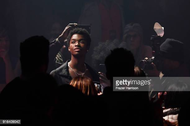 Model Alton Mason performs during the Telfar during New York Fashion Week presented by Made at Gallery I at Spring Studios on February 9 2018 in New...