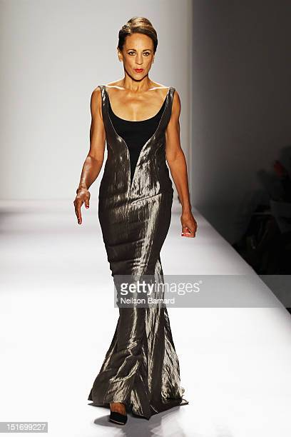 Model Alva Chinn walks the runway at the Norisol Ferrari Spring 2013 fashion show during MercedesBenz Fashion Week at The Studio at Lincoln Center on...