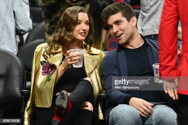 Model Alyssa Arce and a guest attend a basketball game between the Los Angeles Clippers and the Milwaukee Bucks at Staples Center on March 27 2018 in...