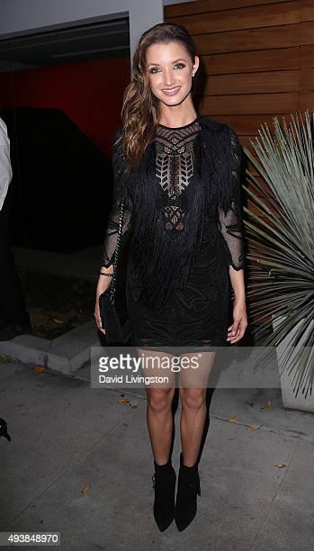 Model Alyssa Arce attends Brian Bowen Smith's Metallic Life exhibition opening at the De Re Gallery on October 22 2015 in Los Angeles California