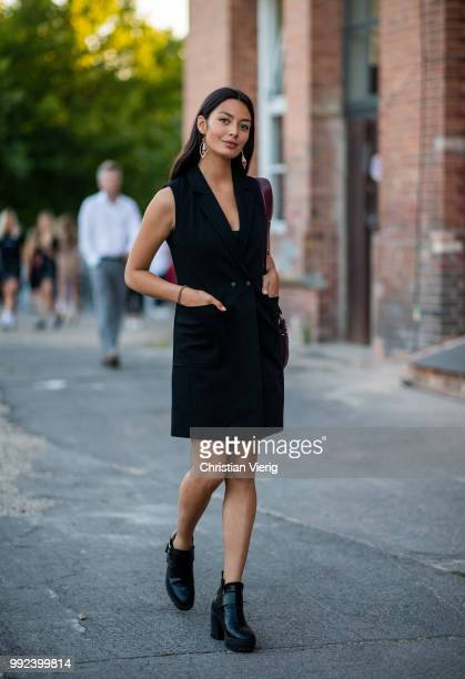 Model Alyssa Cordes wearing black dress is seen outside Hugo during the Berlin Fashion Week July 2018 on July 5 2018 in Berlin Germany