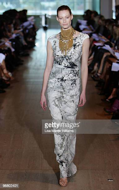 Model Alyssa Sutherland showcases designs by Lisa Ho on the catwalk on the first day of Rosemount Australian Fashion Week Spring/Summer 2010/11...