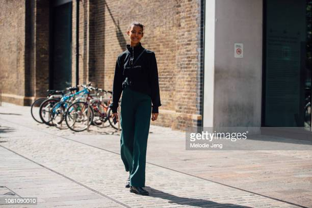 Model Alyssa Traore during London Fashion Week September 2018 on September 15 2018 in London England