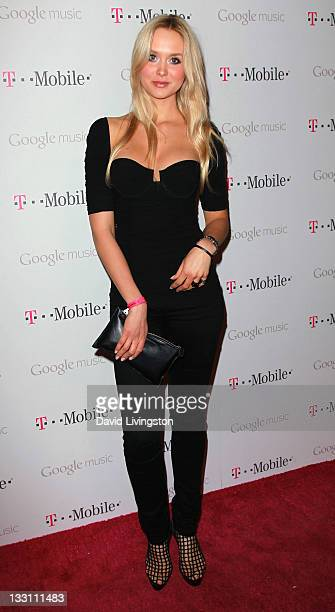 Model Amalie Wichmann attends Google and TMobile's celebration of the launch of Google Music at Mr Brainwash Studio on November 16 2011 in Los...