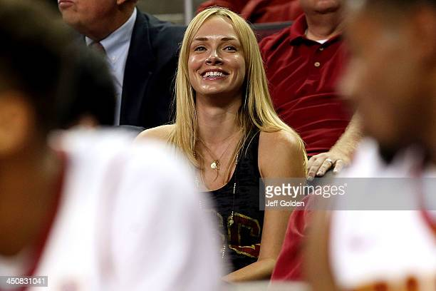 Model Amanda Enfield watches the first half of the home opening game between the Cal State Northridge Matadors and the USC Trojans at the Galen...