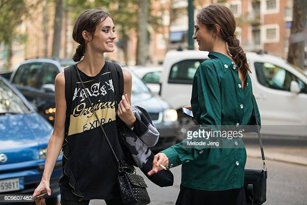 Model Amanda Googe Marine Deleeuw in hair and makeup outside the N21 show during Milan Fashion Week Spring/Summer 2017 on September 21 2016 in Milan...