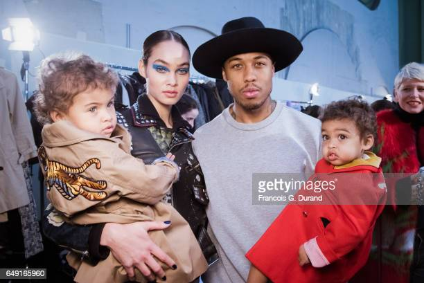 Model Amanda Harvey poses with her husband Jason Harvey and kids Rose and Noah backstage before the Leonard Paris show as part of the Paris Fashion...