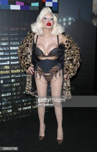 Model Amanda Lepore attends the Moschino x HM show at Pier 36 on October 24 2018 in New York City