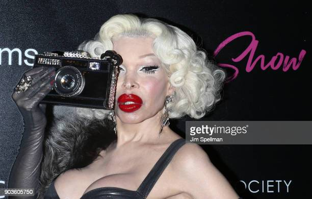 Model Amanda Lepore attends the premiere of IFC Films' Freak Show hosted by The Cinema Society and Bluemercury at Landmark Sunshine Cinema on January...