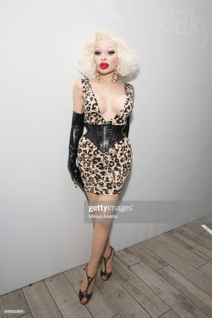 Model Amanda Lepore poses backstage at the Tumbler And Tipsy By Michael Kuluva fashion show during New York Fashion Week: Style360 at Metropolitan Pavilion on September 13, 2017 in New York City.