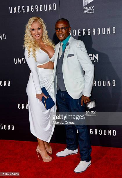 Model Amanda Moore and comedian Tommy Davidson arrive for the premiere of Premiere Of WGN America's 'Underground' held at The Theatre at The Ace...