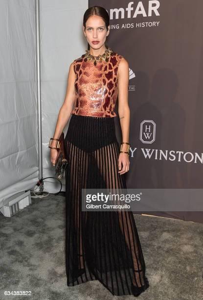Model Amanda Wellsh attends 19th Annual amfAR New York Gala at Cipriani Wall Street on February 8 2017 in New York City