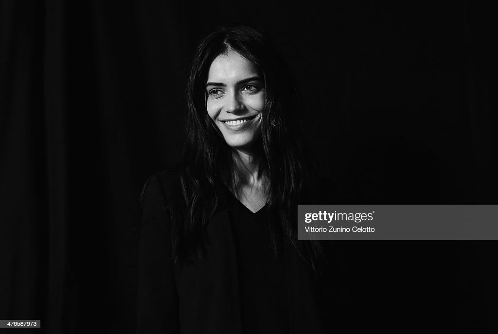 Model Amanda Wellsh backstage at the Ungaro show as part of the Paris Fashion Week Womenswear Fall/Winter 2014-2015 at Espace Vendome on March 3, 2014 in Paris, France.