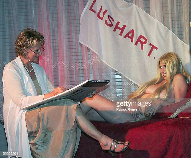 Model Amber Kenny poses as Lady Godiva for Gallery Owner Irena Dobrijevich at the opening of LushART Gallery in Surry Hills on October 19 2005 in...