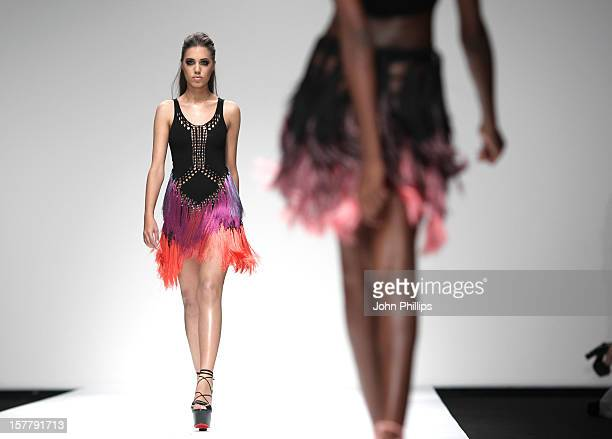 Model Amber Le Bon Walks On The Catwalk During The Mark Fast Spring/Summer 2011 Show During London Fashion Week At The Bfc Tent In Somerset House...