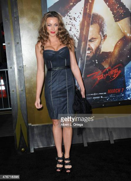 Model Amber Miller arrives for the Premiere Of Warner Bros Pictures And Legendary Pictures' '300 Rise Of An Empire' held at TCL Chinese Theatre on...
